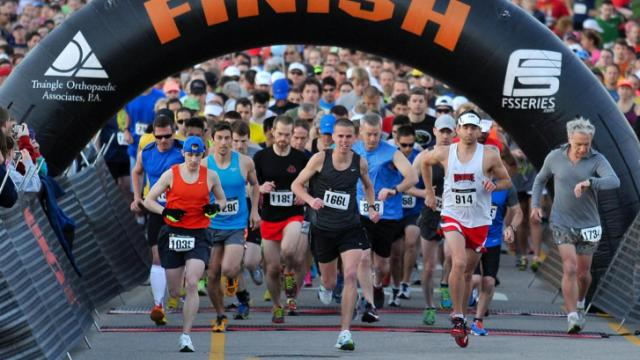 Runners start the half marathon. Runners took part in the Run Raleigh Half Marathon and 5K Road race in Raleigh on April 14, 2013.