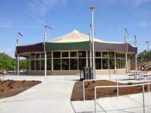 A new carousel house protects this historic carousel, which opened at the park in the 1930s, from the elements.