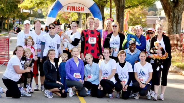 The training programs prepares moms (and dads) for a 5K, 10K or half marathon.