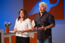 Rachael Ray and Guy Fieri are back to battle it out for ultimate bragging rights, but this time mentoring the most talented kid chefs around, in Rachael vs. Guy: Kids Cook-Off, premiering Sunday, September 8th at 8pm ET/PT. Courtesy: Food Network