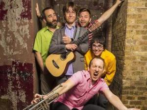 Justin Roberts and his Not Ready for Naptime Players. Roberts with one of his band members will perform at The ArtsCenter, Oct. 19.