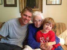 """Julia Sims' husband and son with beloved neighbor """"Nini"""""""