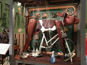 The exhibit features moving sculptures made of thrift store finds.