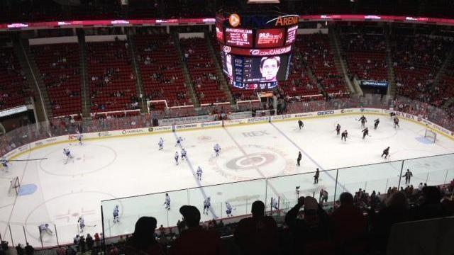 The Carolina Hurricanes and Tampa Bay Lightning warm up for the Jan. 19 game.