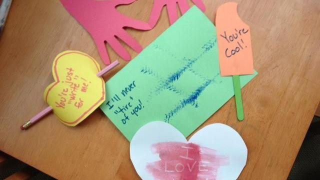 Make your own valentines with construction paper, markers and just a few other items.