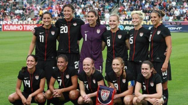 Members of the U.S. Women's National Team prior to their game versus Japan at WakeMed Soccer Park in Cary, NC on Wednesday, May 18, 2011 (Photo by Jack Morton).