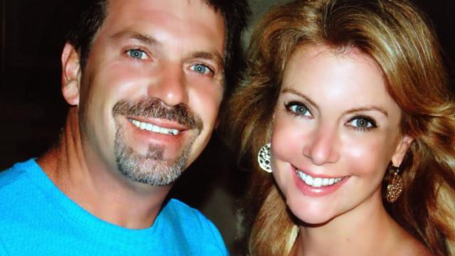 WRAL-TV anchor Jackie Hyland and her husband celebrate 20 years of marraige.