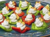 Red and green bell pepper boats