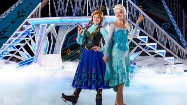 Taylor Firth as Anna and Becky Bereswill as Elsa on the ice.