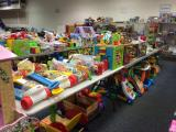 Toys line up waiting for buyers at the Kidcycle sale in Durham