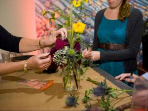 Guests attending the museum's Still Life members opening were invited to make their own still-life inspired floral arrangements, courtesy of the staff of the Watered Garden.
