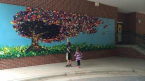 Joyner Family Tree by artist Denise Hughes, Joyner Elementary School students and staff