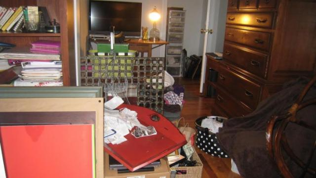 Leah Friedman of Raleigh Green Gables says you don't want your guests to be greeted by this messy guest room.