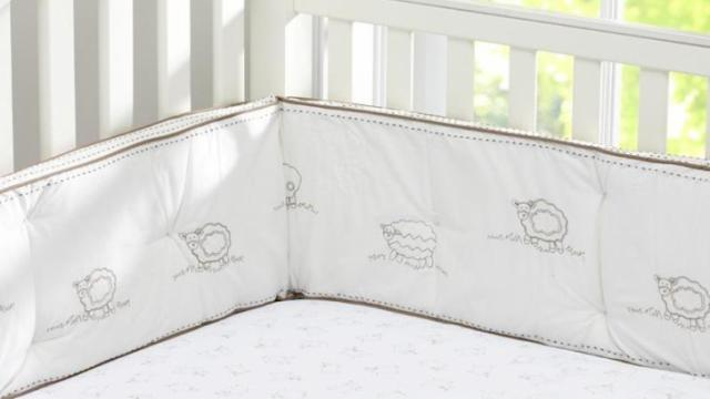 This crib bumper was recalled in 2013 because the thread in the decorative stitching on the bumper can loosen, posing an entanglement hazard to infants. Courtesy: Consumer Product Safety Commission