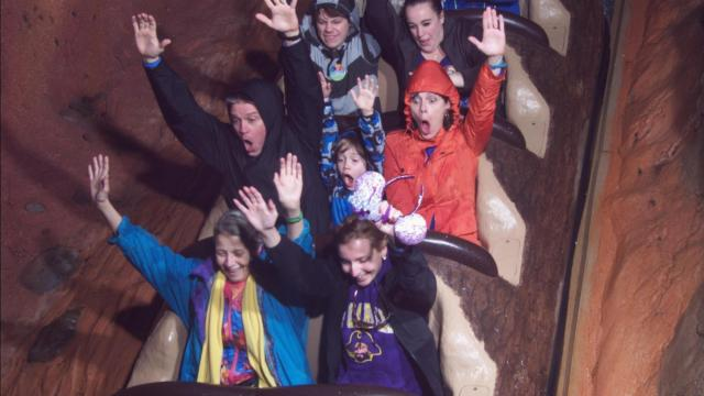 Julia Sims (red jacket) and family on Splash Mountain at Disney World's Magic Kingdom.