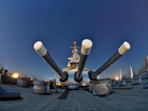 The historic battleship sits on the Cape Fear River across from downtown Wilmington.
