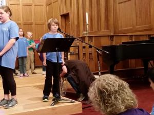 Julia Sims' son wasn't so sure about speaking at church, but he overcame his stage fright.