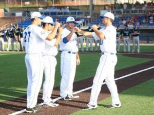 Team introductions at the Holly Springs Salamanders inaugural game on Thursday May 28, 2015. (Chris Baird / WRAL Contributor).