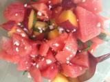 Watermelon, peach, tomato, feta salad