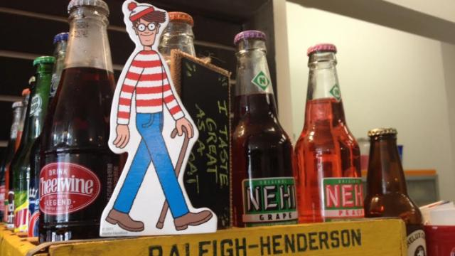 The star of the popular search-and-find series hangs out in Treat, downtown Raleigh ice cream shop, as part of a city-wide Waldo hunt.