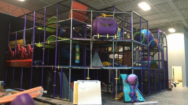 This photo, from July, shows Galaxy Fun Park's indoor playground under construction. Courtesy: Facebook