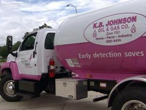 Kemp and Hal Johnson, owners of K.B. Johnson Oil and Gas Company in Fuquay-Varina, made one of their trucks pink to raise awareness about breast cancer.