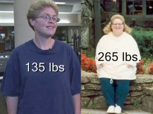 """Five years ago, Tammy Lynette Jackson weighed 265 pounds. Now, she weighs 135 pounds. Her secret? """"Old-fashioned"""" exercise and dieting, she says."""