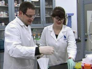 Lab technicians at Liquidia in Morrisville work on nanoparticles.