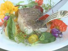 Chef Scott Crawford cooks up snapper with pepper and tomato from the culinary garden.