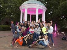 Pink Out Polk Place turned UNC's most famous landmarks pink for one night, Oct. 10, 2012, in honor of cancer awareness. (Photos courtesy of photographer Brian Strickland)