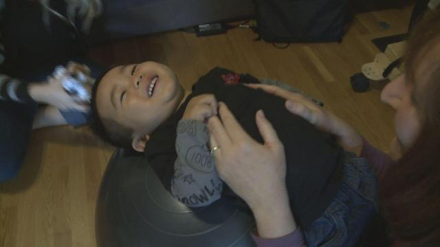 Two-year-old Brady Chan has a rare genetic disorder called spinal muscular atrophy, or SMA, which causes muscle weakness.