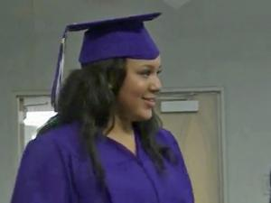 Courtney Montgomery graduated Friday in a personal celebration at Duke University Hospital School.