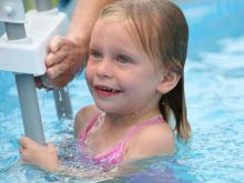 When 3-year-old Natalie Monk climbs into a pool, she's continuing a family tradition that her mother has passed on - they are both trained in Infant Swimming Resource, also known as ISR.