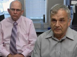 Dr. Mark Dewhirst (left) researches a rare form of breast cancer, which took the life of Peter Preston's wife.