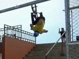 Raw: BMXer records backflip down stairs