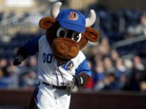 Wool E. Bull can count Miss Fifi among his many fans. Photo from the Durham Bulls.