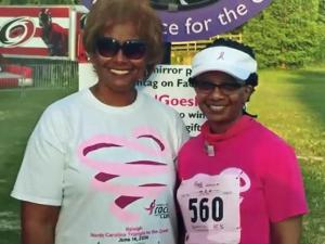 Phyllis Stevenson, right, is a 22-year survivor of breast cancer and has participated in the Komen Race for the Cure in the Triangle in every year of its existence.