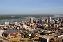 Memphis, Tenn., cozies up to the banks of the Mississippi River.