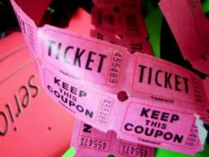 A roll of tickets used as decoration in the former press offices of the state fair spill out of a trash bag. (Photo by Traci White)