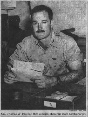 NC's Major Thomas Ferebee who dropped the atomic bomb on Hiroshima.