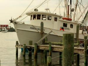 A ship is tied up at the Ocracoke Island docks. (Photo by Bill Leslie)