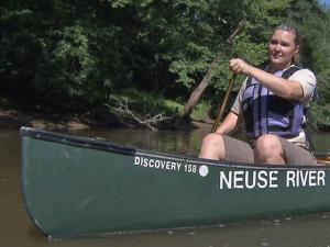 Alissa Bierma, the upper Neuse riverkeeper for the Neuse Riverkeeper Foundation, paddles along the river.