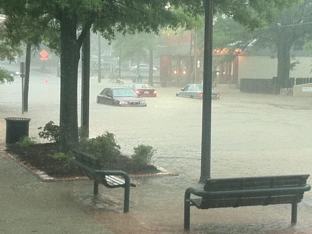 A WRAL viewer shared this picture of flooding outside his office in Chapel Hill on Friday, May 27, 2011.