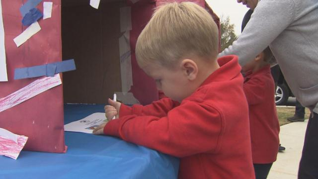 """The choice on Election Day was clear: Percy the Rooster or Billy the Duck. Preschoolers in Holly Springs and Fuquay-Varina cast ballots for their favorites during """"Election Day at Primrose,"""" a mock vote designed to teach civic responsibility."""