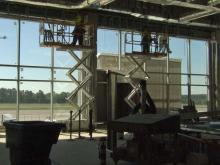 Progress is evident inside and out at RDU's Terminal 1. The renovation is expected to be complete in early 2014.