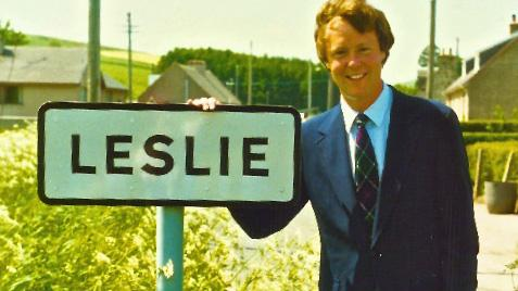Bill Leslie visits the town of Leslie in Scotland, circa 1986.