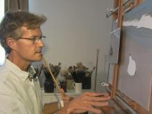 Jack Saylor is an artist living in Morehead City who paints the ocean and beach with riveting, near-microscopic detail.