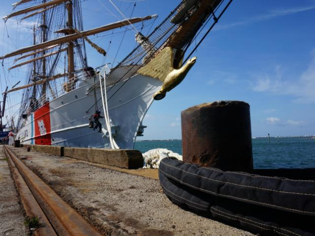The Coast Guard cutter The Eagle is used for officer training.<br/>Photographer: Richard Adkins