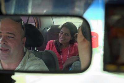 WRAL's Leyla Santiago rides in the back of a car during the first few hours of her trip to Cuba.