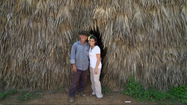 WRAL's Leyla Santiago with Oreste Diaz Blanco in Vinales, Cuba.